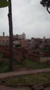 We peaked into the Roman Forum from outside the fence. It really amazes me how they have combined the really, really, old city with a modern one.